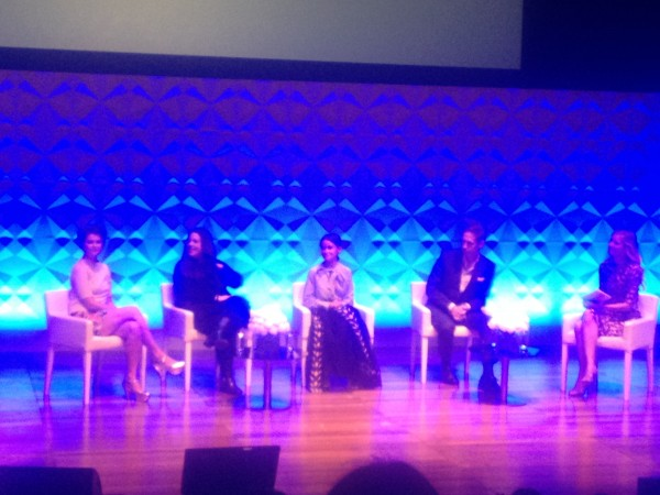 The panel of speakers: Pixie Geldof, Mary Katrantzou, Miroslava Duma and Nick Knight